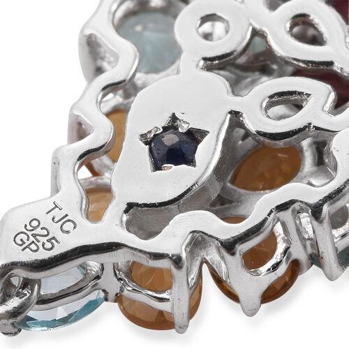 GP Paraiba Apatite, Rhodolite Garnet, Citrine, Hebei Peridot, White Topaz, Kanchanaburi Blue Sapphire and Multi Gem Stone Floral Earrings(with Push Back) in Platinum Overlay Sterling Silver 12.250 Ct.