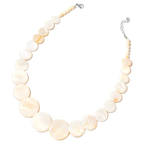 White Shell Coin Necklace (Size 21 with Extender), Stretchable Bracelet (Size 7) and Hook Earrings in Stainless Steel