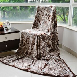Superfine Microfibre Flannel Printed Blanket Paisley Style Cappuccino and Multi Colour (Size 200x150 Cm)
