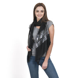 DOD - Black Colour Scarf with Sequins Work on Border (Size 180x70 Cm)