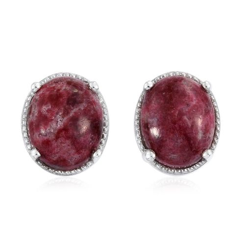 Norwegian Thulite (Ovl) Stud Earrings in Platinum Overlay Sterling Silver 6.000 Ct.