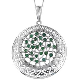 Kagem Zambian Emerald (Rnd) Pendant With Chain (Size 20) in Platinum Overlay Sterling Silver 1.750 Ct.