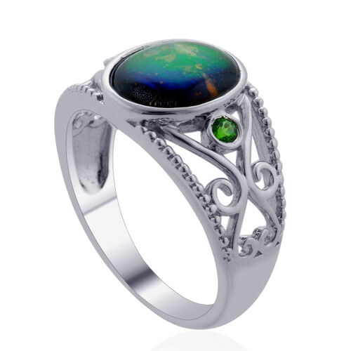 Canadian Ammolite (Ovl 1.90 Ct), Russian Diopside Ring in Rhodium Plated Sterling Silver 2.000 Ct.