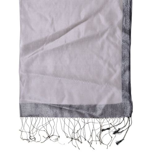 Grey Colour Scarf with Silver Thread and Fringes at the Bottom 50 percent SILK 50 percent polyester (Size 175x65 Cm)