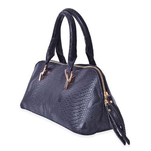 Snake Skin Pattren Black Colour Tote Bag (Size 34x15x13 Cm)