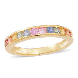 Rainbow Sapphire (Rnd) Half Eternity Band Ring in Yellow Gold Overlay Sterling Silver 1.000 Ct.