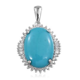 9K W Gold Arizona Sleeping Beauty Turquoise (Ovl 9.00 Ct), Diamond Pendant 9.500 Ct.