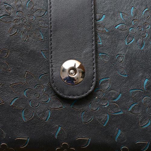 Genuine Leather Turquoise and Black Colour Floral Laser Cut Pattern Wallet (Size 20x12 Cm)