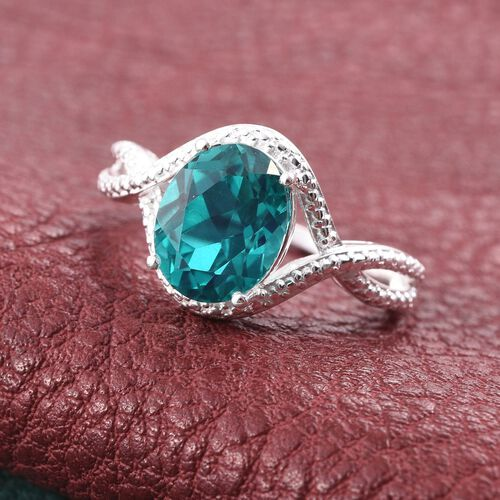 Capri Blue Quartz (Ovl) Solitaire Ring in Sterling Silver 3.000 Ct.