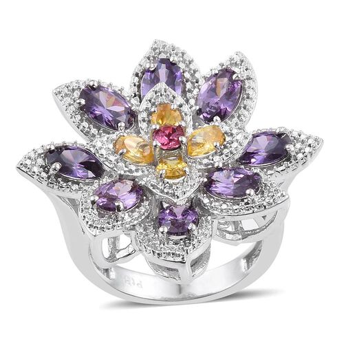 J Francis Crystal from Swarovski - Light Rose Crystal (Rnd), Simulated Citrine and Simulated Amethyst Floral Ring in ION Plated Platinum Bond