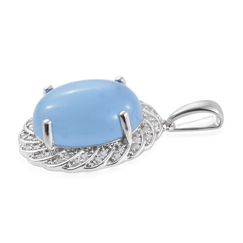 Limited Available-9K W Gold Blue Jade (Ovl 9.75 Ct), Natural Cambodian Zircon Pendant 10.000 Ct.