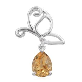 Uruguayan Citrine (Pear), Diamond Butterfly Pendant in Platinum Overlay Sterling Silver 1.500 Ct.