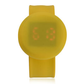 STRADA Yellow Dial Water Resistant LED Watch with Yellow Silicone Strap