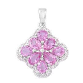 Limited Edition-9K W Gold AAA Pink Sapphire (Pear), Cambodian White Zircon Pendant 3.000 Ct.