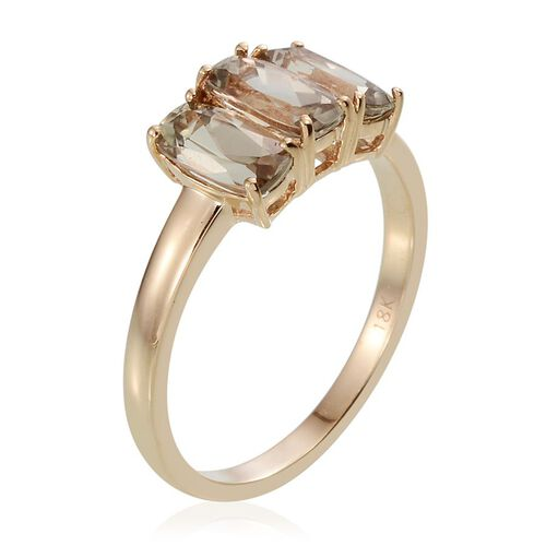 ILIANA 18K Y Gold Turkizite (Cush) Trilogy Ring 2.500 Ct.