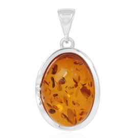Baltic Amber Pendant in Rhodium Plated Sterling Silver 20.000 Ct.
