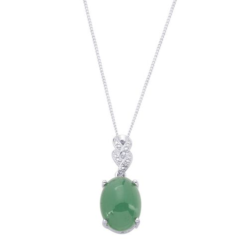 Emerald Quartz (Ovl 11.50 Ct), Diamond Pendant With Chain in Platinum Overlay Sterling Silver 11.510 Ct.