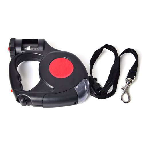 Pet Accessories- Red and Black Colour Retractable LED Leash with Blue and White Colour Water Bottle with Plastic Bag