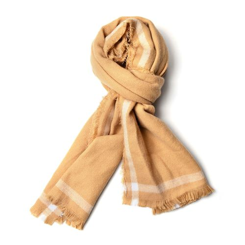 Designer Inspired - Khaki and White Colour Scarf with Fringes (Size 200x70 Cm)