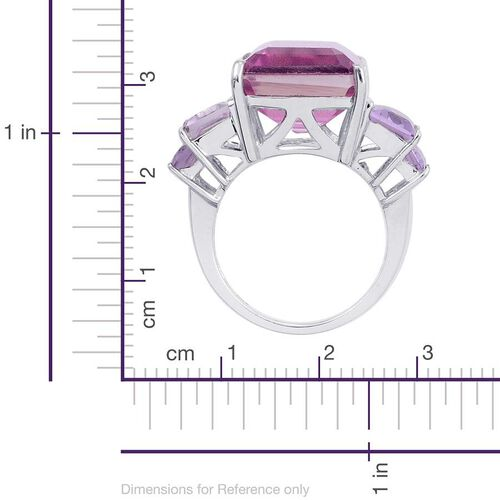 Kunzite Colour Quartz (Oct 11.00 Ct), Rose De France Amethyst Ring in Platinum Overlay Sterling Silver 13.750 Ct.