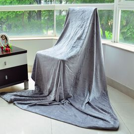 Superfine Microfibre Grey Colour Super Soft Throw (Size 200x150 Cm)