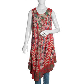 Maroon, Beige and Multi Colour Printed Tunic (Free Size)