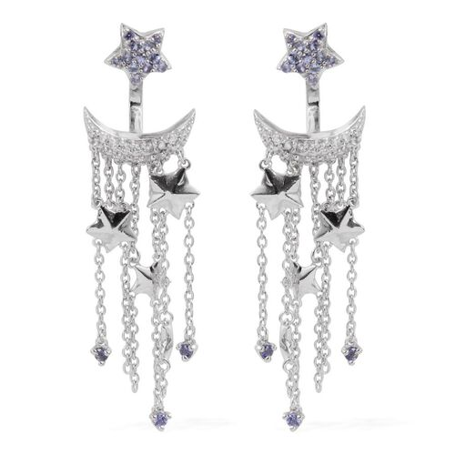 GP Tanzanite (Rnd), Kanchanaburi Blue Sapphire and White Topaz Earrings (with Push Back) in Platinum Overlay Sterling Silver 1.400 Ct.