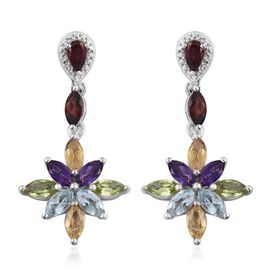 Mozambique Garnet (Mrq), Sky Blue Topaz, Hebei Peridot, Rhodolite Garnet, Citrine and Amethyst Earrings (with Push Back) in Platinum Overlay Sterling Silver 4.965 Ct.