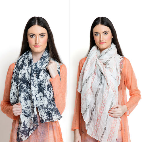 Set of 2 -  100% Superfine, Premium Grade Cotton Orange and Multi Colour Printed White Colour and White Colour Floral Pattern Black Colour Pareo (Size 180x100 Cm)