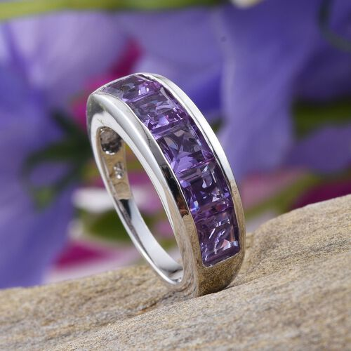 Lavender Alexite (Sqr) 5 Stone Ring in Platinum Overlay Sterling Silver 3.000 Ct.