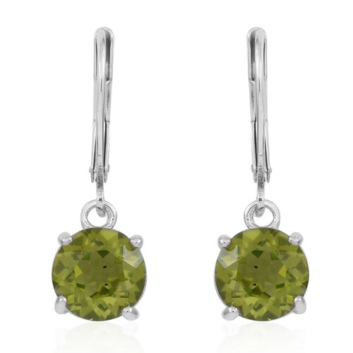 AA Hebei Peridot (Rnd) Lever Back Earrings in Rhodium Plated Sterling Silver 4.500 Ct.