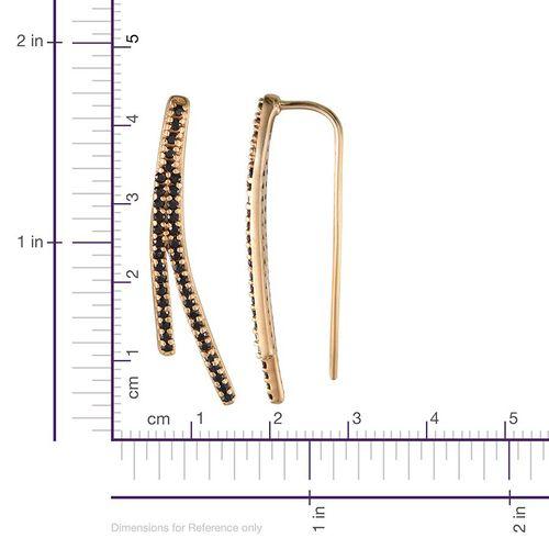 Boi Ploi Black Spinel (Rnd) Climber Earrings in 14K Gold Overlay Sterling Silver 1.400 Ct.
