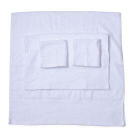 Set of 4 - 100% Cotton White Colour 1 Bath Towel (Size 130x65 Cm), 2 Face Towel (Size 65x50 Cm) and 1 Hand Towel (Size 33x33 Cm) with Filigree Pattern at the Border