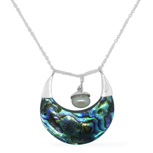 Royal Bali Collection Abalone Shell and Fresh Water Pearl Necklace (Size 18) in Sterling Silver 10.500 Ct.
