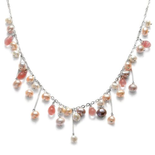 Fresh Water Multi Colour Pearl and Strawberry Quartz Necklace (Size 20) in Silver Tone