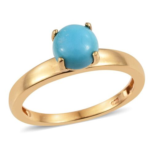 Arizona Sleeping Beauty Turquoise (Rnd) Solitaire Ring in 14K Gold Overlay Sterling Silver 1.000 Ct.