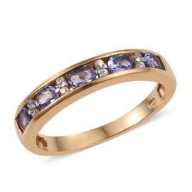 Tanzanite (Ovl), Natural Cambodian Zircon Half Eternity Band Ring in 14K Gold Overlay Sterling Silver 1.000 Ct.