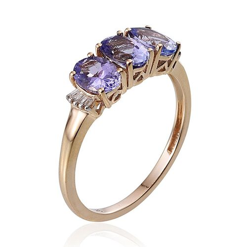 9K Y Gold Tanzanite (Ovl 1.85 Ct), Diamond Ring 1.900 Ct.