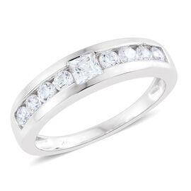 9K White Gold Band Ring Made with SWAROVSKI ZIRCONIA