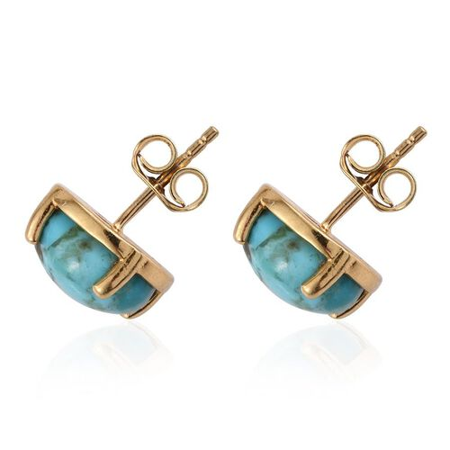 Arizona Matrix Turquoise (Rnd) Stud Earrings in 14K Gold Overlay Sterling Silver 3.000 Ct.