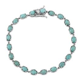 DOD - Sonoran Turquoise (Ovl) Bracelet (Size 7.5) in Platinum Overlay Sterling Silver 9.500 Ct.