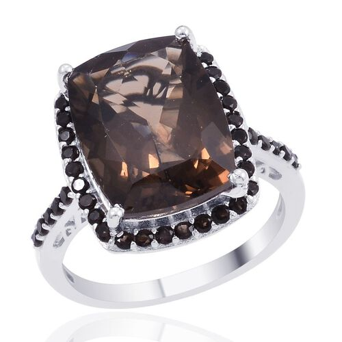 Designer Collection Brazilian Smoky Quartz (Cush 9.50 Ct) Ring in Platinum Overlay Sterling Silver 10.750 Ct.