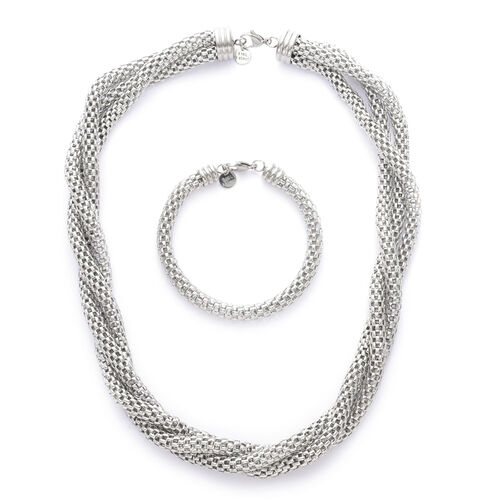 Twisted Mesh Necklace (Size 20) and Bracelet (Size 7.50) in Stainless Steel