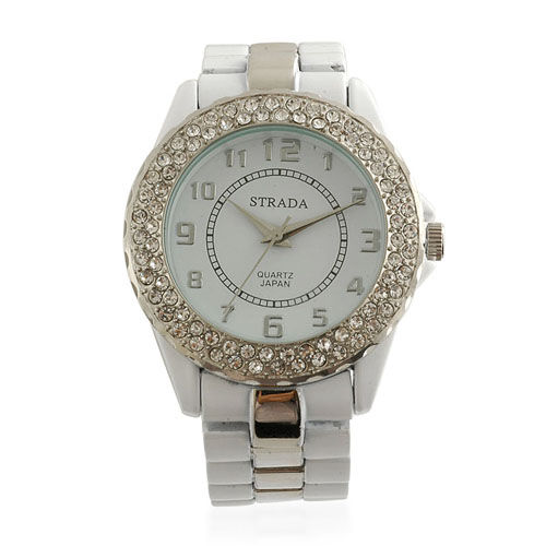 STRADA White Austrian Crystal Japanese Movement Studded Palladium Plated 3 hand White Watch  0.001  Ct.