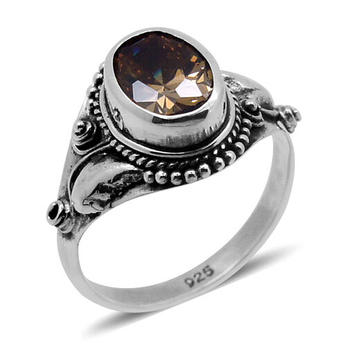 Royal Bali Collection AAA Simulated Zultanite (Ovl) Solitaire Ring in Sterling Silver 2.650 Ct.