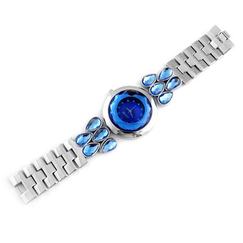 GENOA Japanese Movement Blue Austrian Crystal and Blue Glass Watch in ION Plated Stainless Steel