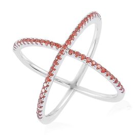 ELANZA AAA Simulated Garnet (Rnd) Criss Cross Ring in Rhodium Plated Sterling Silver