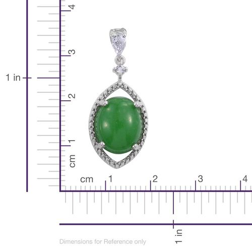 Green Jade (Ovl), White Topaz Earrings (with Push Back) in Platinum Overlay Sterling Silver 12.750 Ct.