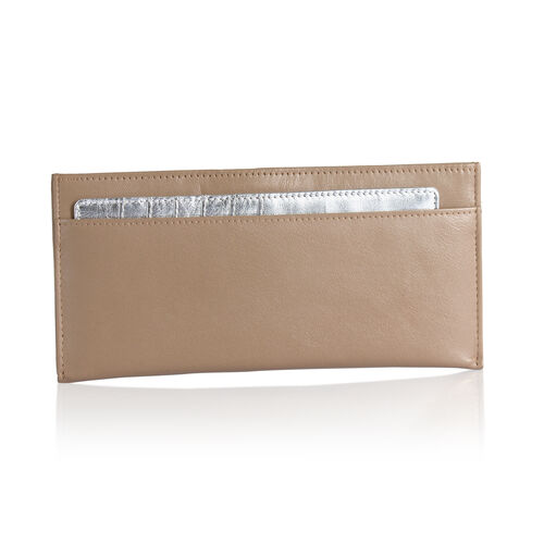 Genuine Leather RFID Blocker Light Brown Colour Wallet  (Size 20x8 Cm) with Card Holder