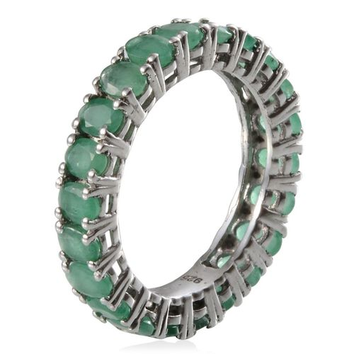 Kagem Zambian Emerald (Ovl) Full Eternity Ring in Platinum Overlay Sterling Silver 3.000 Ct.